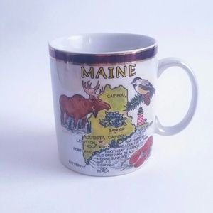 Vintage Maine Coffee Mug Cup Moose Pearlescent